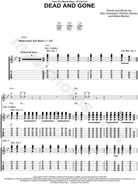 """The Black Keys """"Dead and Gone"""" Guitar Tab in G Minor"""