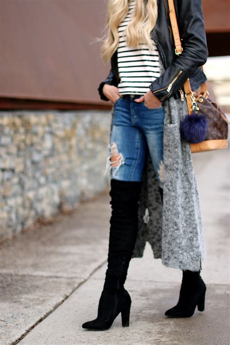 Casual Layers: Long Vest , Leather Jacket & Black