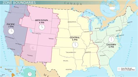 US Time Zones: Pacific, Mountain, Central & Eastern