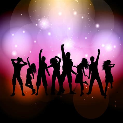 Silhouettes of people dancing on a bright background