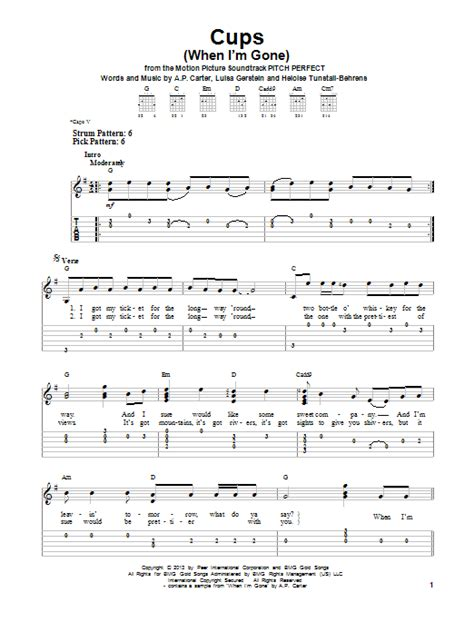 Cups (When I'm Gone) sheet music by Anna Kendrick (Easy