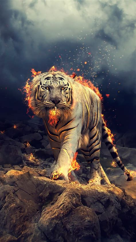Angry, raging, white tiger, 1080x1920 wallpaper | Tiger